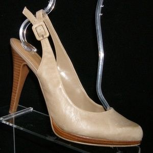 Nine West Ricci brown leather slingback heel 7.5M
